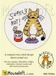 Mouseloft Surely Not Biscuit the Cat cross stitch kit